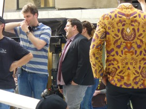 Jonah Hill and GET HIM TO THE GREEK writer/director Nicholas Stoller share a laugh between set-ups.