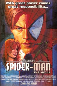 An imagined movie poster for the Cameron Spider-Man film that ran in Wizard Magazine