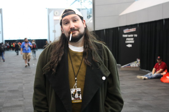 Silent Bob enjoys a smoke outside the convention hall.