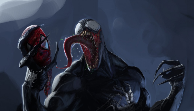 Venom with Spidey's head.
