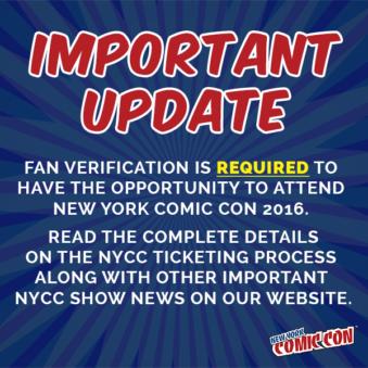 New York Comic Con 16 Fan verification nycc
