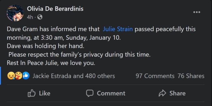 Julie Strain Olivia de Berardinis death announcement